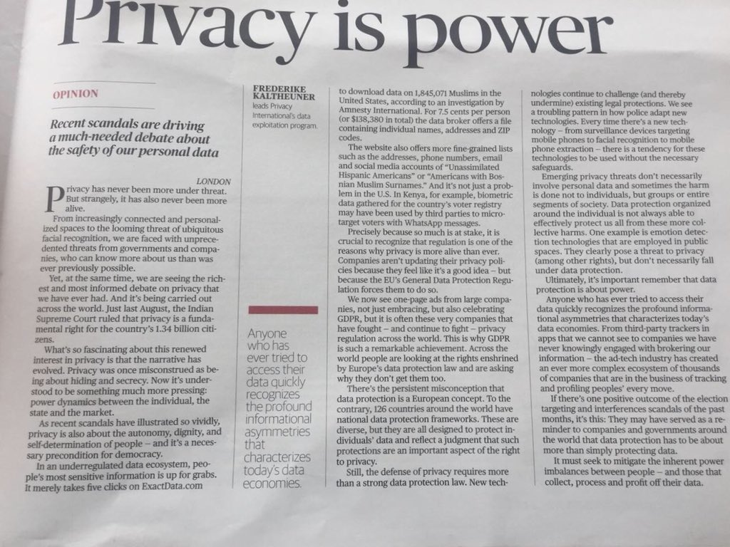RT @F_Kaltheuner: Privacy is power.…